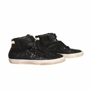 Bally Mens Black Leather High Top Sneakers